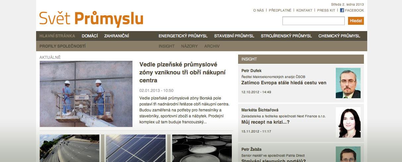 Svět průmyslu - nový systém, redakční systém Drupal konfigurovaný na míru